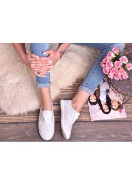 Белые женские текстильные кеды балетки со шнуровкой SummerLove
