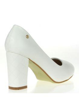 Белые женские туфли на широком каблуке с узором (свадебные) Borgia. Фото модели
