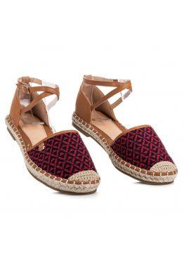 Бордовые женские сандалии с геометрическим узором Summer